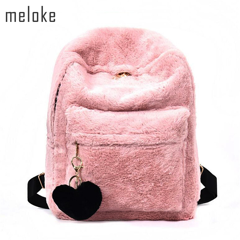 Meloke 2017 Cute Solid Faux Fur Backpack Heart Pendant Winter Soft Women's Big Plush Backpack Pink Black White Rucksack black faux leather pebbled backpack page 2