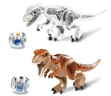 With box Jurassic World Tyrannosaurus Building Blocks Jurrassic Park 4 Dinosaur Bricks Toys legoelieds jurassic world For Kids