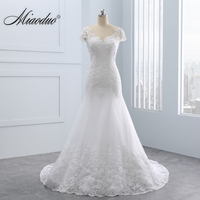 2018 Vestido De Noiva Short Lace Backless Wedding Dresses Mermaid Appliques Pearls Wedding Gown Custom Size