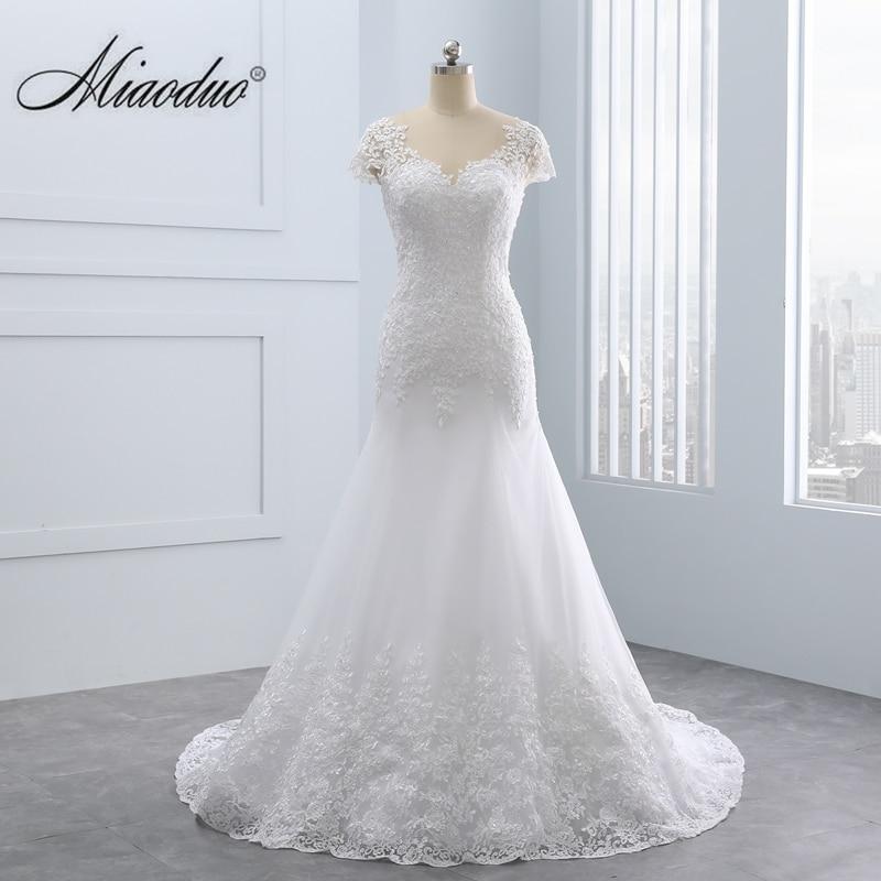 2019 Vestido De Noiva Short Lace Backless Wedding Dresses Mermaid Appliques Pearls Wedding Gown Custom Size Wedding Dress