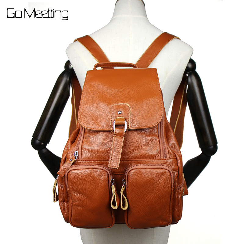 87cef96f3e22 Go Meetting Genuine Leather Women Backpack Cowhide More Than Pocket Women  School Bag High Quality Travel