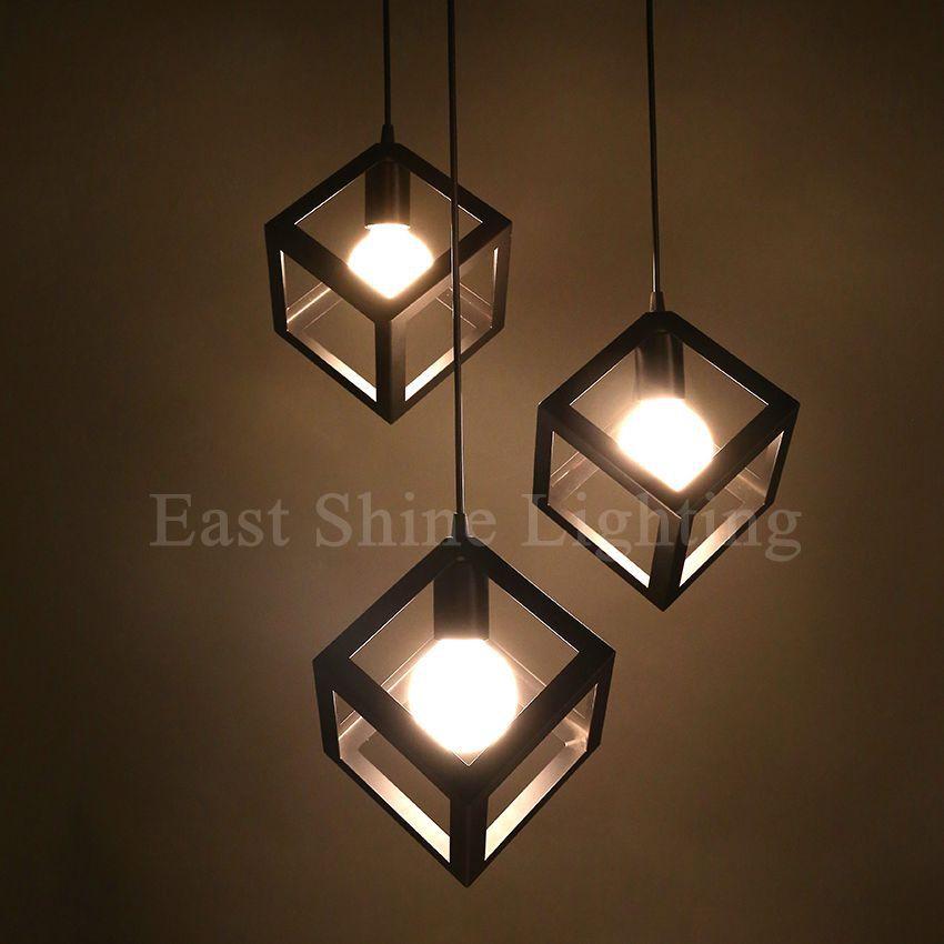 Modern Geometry Box Pendant Lights For Home Cute Pendant Lamps White/Black  Restaurant DIY Hanging Lamp luminaire Light Fixture-in Pendant Lights from  Lights ...