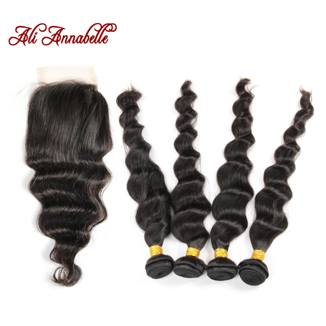 Ali Annabelle Hair With Closure And Bundles 8A Malaysian Loose Wave With Closure 4Bundles With Closure Malaysian Loose Wave