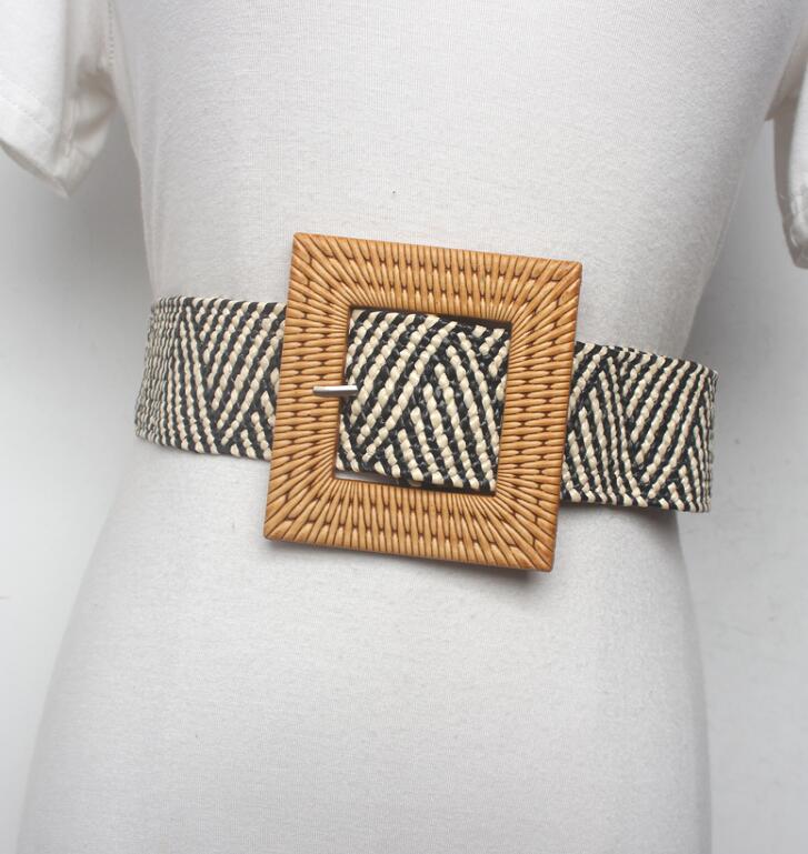 Women's Runway Fashion Knitted Cummerbunds Female Dress Corsets Waistband Belts Decoration Wide Belt R1525
