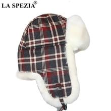 LA SPEZIA Plaid Trapper Fur Hats for Women Cotton Bomber Hat Ear Flaps Female Ski Outdoor Russian Winter Warm Ladies