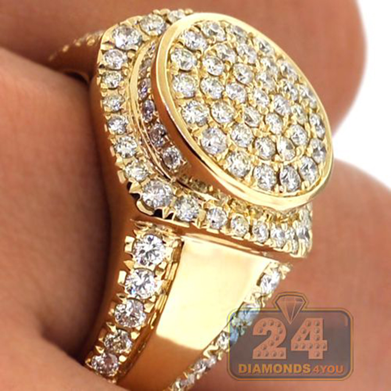Gold Color Puffed Marine Micro Paved CZ Stone Rings For Men Women Hip Hop Bling Bling Iced Out Round Ring Cool Jewelry Z4M169