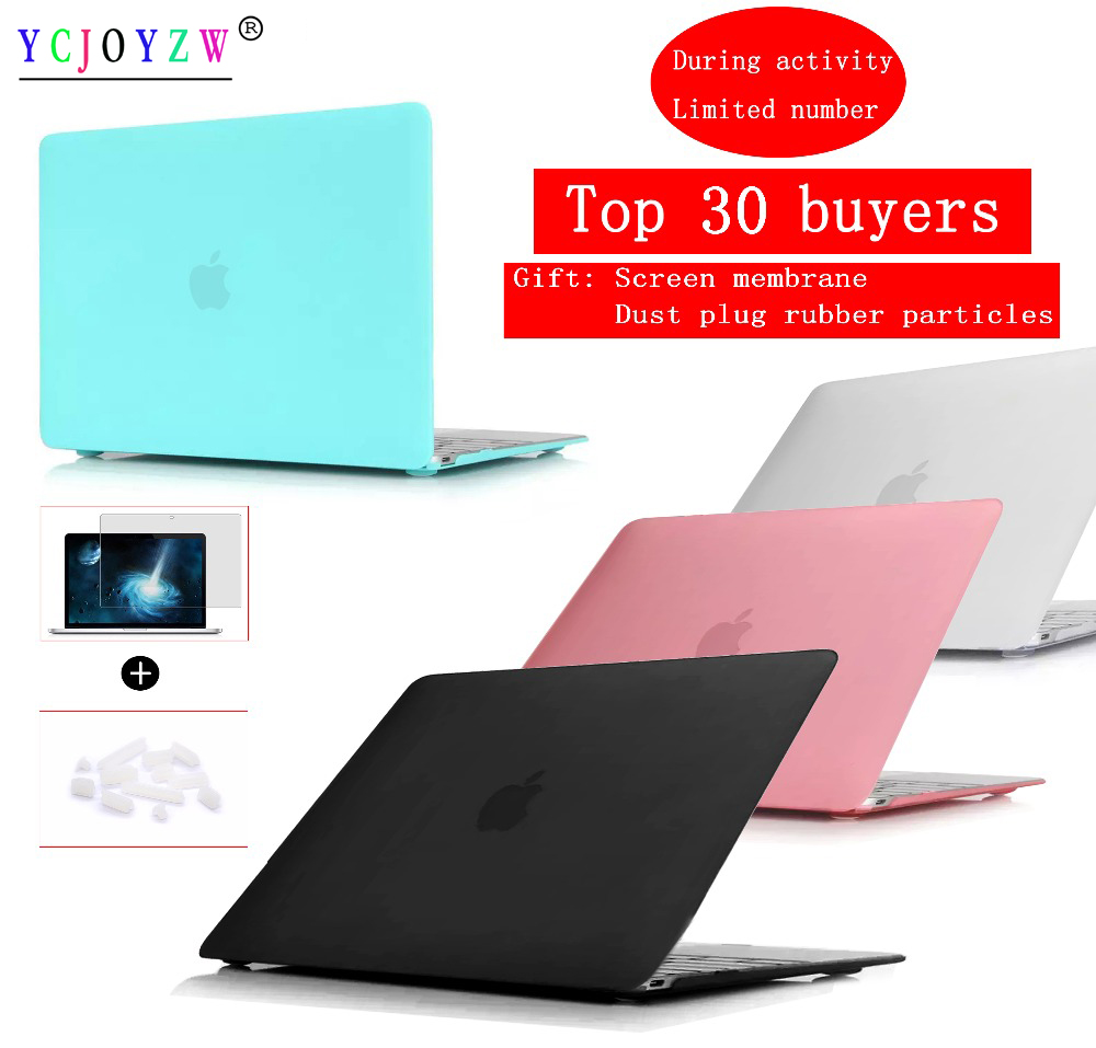 Laptop Case For Apple MacBook Air Pro Retina 11 12 13 15 For Mac Book New Air 13 Pro 13 15 Inch With Touch Bar+Dust Plug Cover