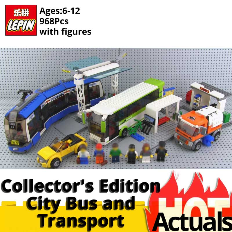 Blocs de construction Lepin Ville 02023 Edition Collector Bus Public et Station de Transport compatible legoINGlys 8404 jouets éducatifs