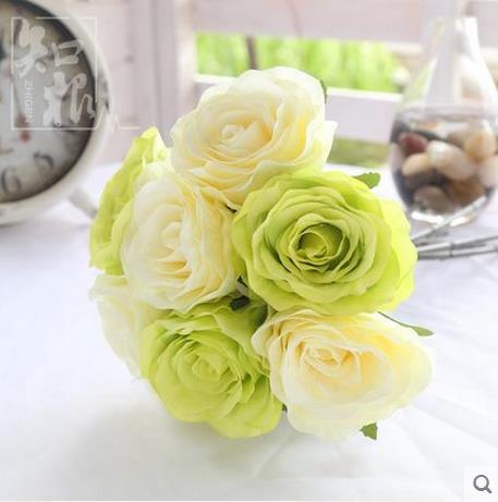 Bouquet de mariée Fleurs Artificielles Artificielle Rose Bouquet À La Main De Mariée Fleur pour la Décoration De Mariage dans Artificielle et Fleurs Séchées de Maison & Jardin