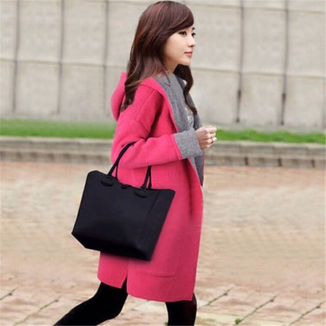 Autumn Winter Female trench coat Fashion Dust Pocket Coat Woman pink loose long hooded cardigan wool solid Windproof Coat