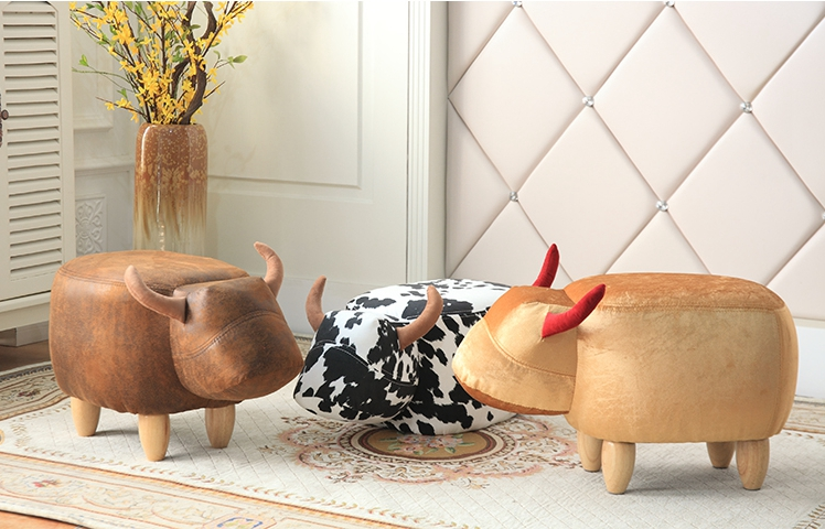 2018 nuevo producto animal lindo taburete vaca otomano pequeño ...