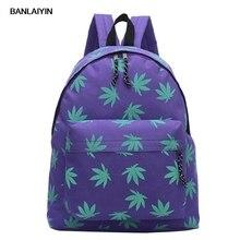 Новая Корейская версия рюкзак женщин небольшой свежий кленовые листья печатных холст сумка мешок школы