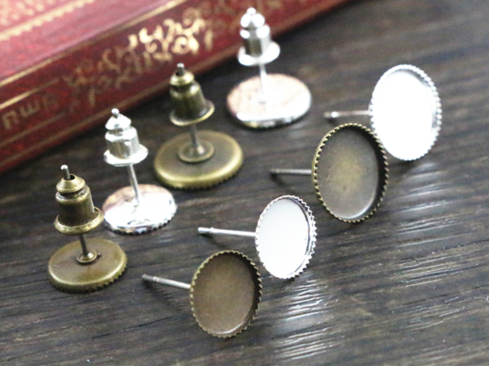 8mm And 10mm 30pcs/Lot Silver And Bronze Plated Earring Studs,Earrings Base,Fit 8mm And 10mm Glass Cabochons,earring Setting