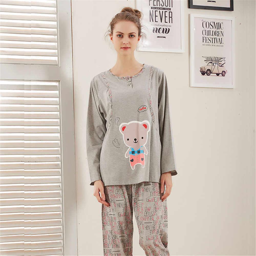 1b66d0e9bea2 ... Pregnant women nursing nightgown pajamas suits Cute bears long sleeve  breastfeeding cotton clothes set pyjama polaire ...