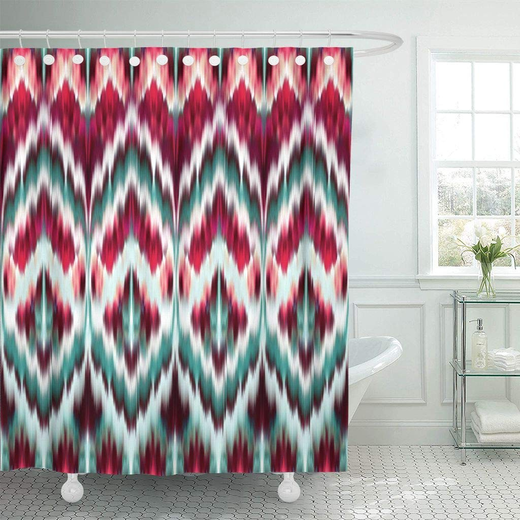 Us 17 48 30 Off Fabric Shower Curtain Hooks Ikat Red Green Intricate Boho Pattern Ethnic Abstract Summer African Arabic Asian Aztec In Shower