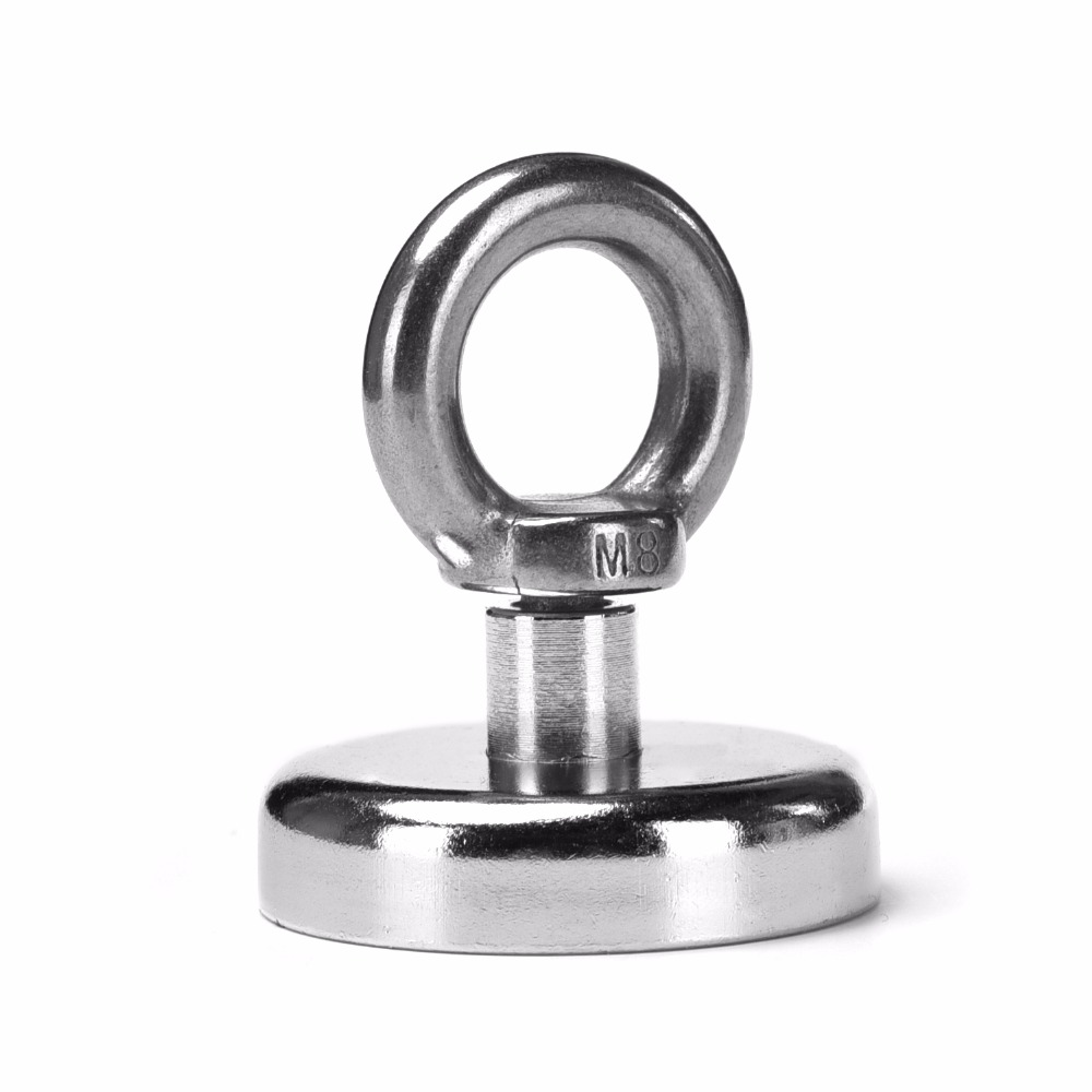 1pcs 35kg Pulling Mounting D48mm strong powerful neodymium Magnetic Pot with ring fishing gear, deap sea salvage equipments D48 1piece 164kg magnetic pull force neodymium recovery fishing detecting magnet pot with a eyebolt antenna magnetic mounting base