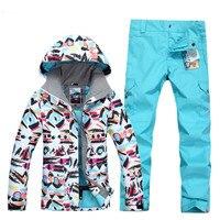 С принтом, для спорта на открытом воздухе, для женщин, супер лыжный костюм для кемпинга, катания на лыжах, сноуборде, костюм, куртка + штаны, Же