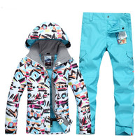 printing Outdoor Sport Women Super Ski Suit Camping Riding Skiing Snowboard Suit Set Jacket+Pants Female Thicken Thermal Hot