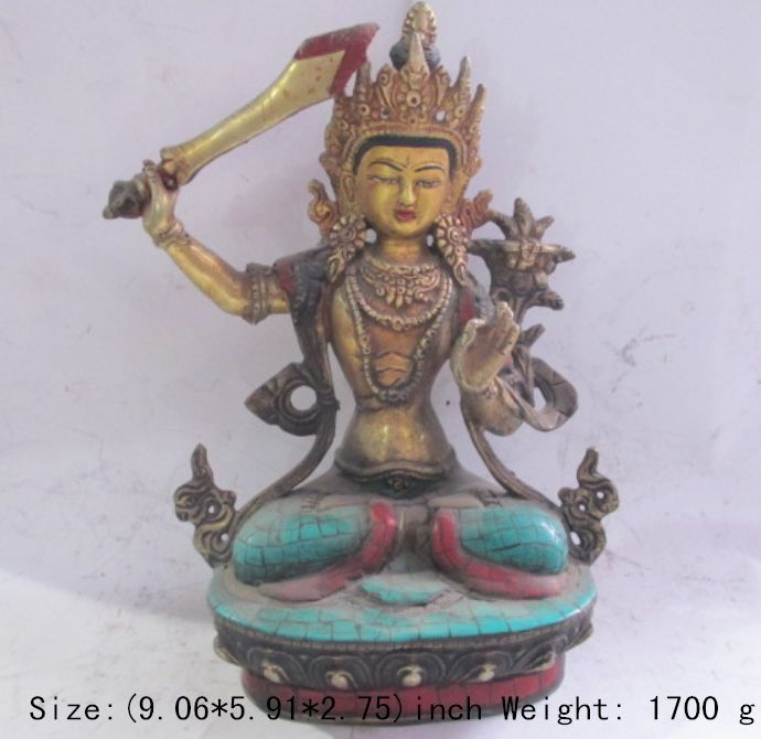 Bouddhisme tibétain verdigris et statue de pierre de déesse guanyin multiplicateur d'épée