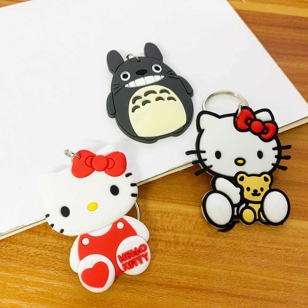 PVC Amina Keychain Dos Desenhos Animados Crianças Criança Presentes 5 cm Tamanho Bonito KT Ponto Totoro e Herói Silicone Chaveiro Mulheres Saco keyholder carro