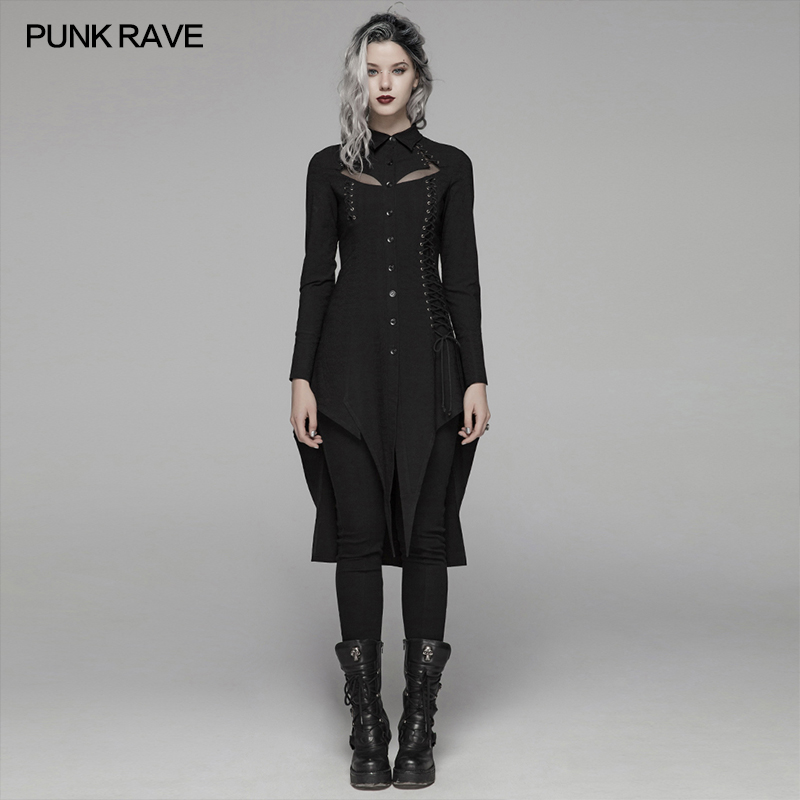 PUNK RAVE Women Gothic Dark Long Shirt Elastic Dark striped Shirt Material Slim Fit Irregular Design