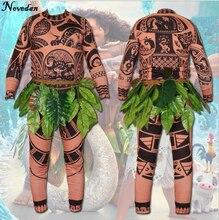 New 2018 Cartoon Movie Moana Maui Cosplay Costume Mens Fashion Halloween Carnival Party Printed T-shirt +Pants