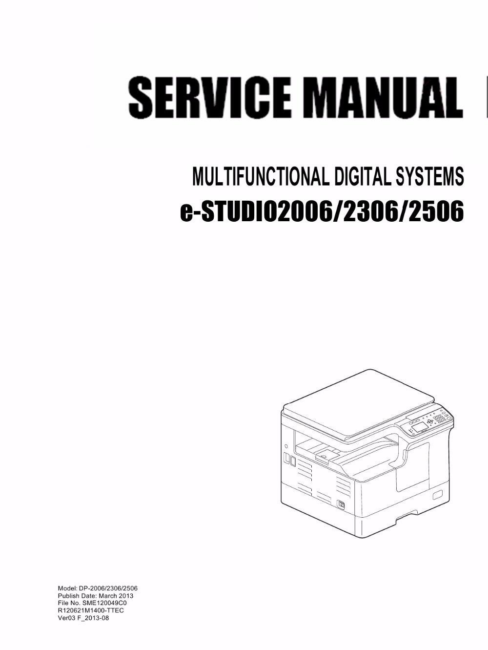 Copier Service Manual For Toshiba E Studio 2006 2306 2506