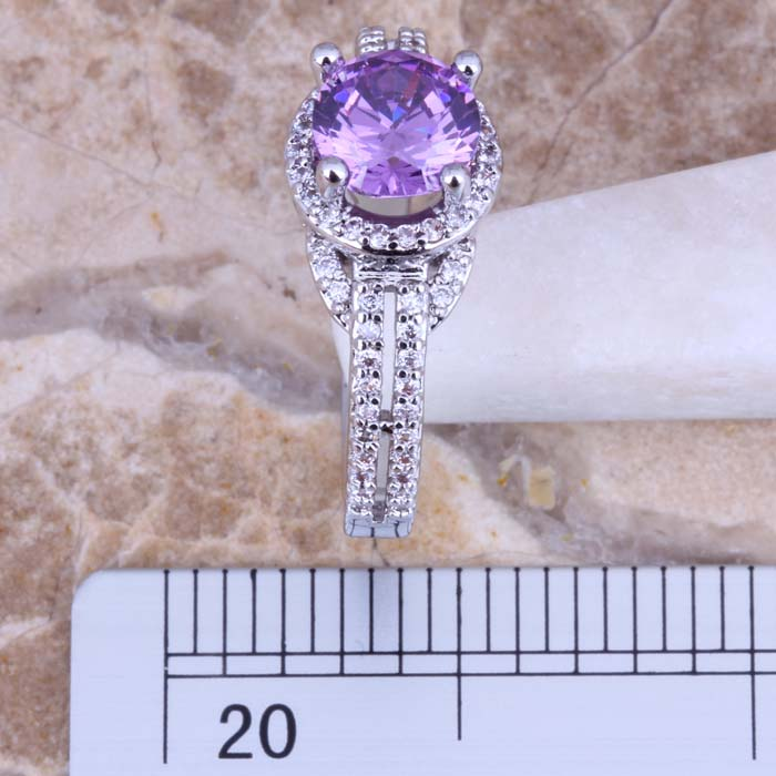 Marvelous Purple Cubic Zirconia White CZ Silver Plated Ring Size - Märkessmycken - Foto 2