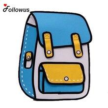 Neue 3D Jump Stil 2D Zeichnung Cartoon Papiertüte Comic Rucksack Messenger Tote Fashion Cute Studenten Taschen Unisex Bolos 4 farbe