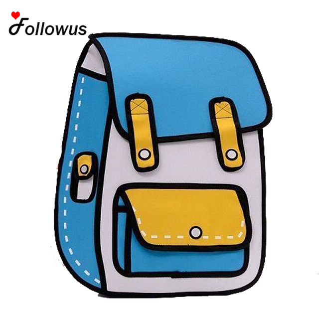 New 3D Jump Style 2D Drawing Cartoon Paper Bag Comic Backpack Messenger Tote Fashion Cute Student Bags Unisex Bolos 4Color