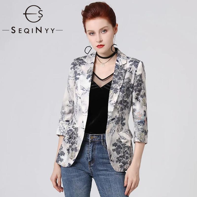 SEQINYY Short Jacket 2020 Summer Spring New Fashion Design 3/4 Sleeve Ink Forest Printed Thin Casual  Women Linen Blazer