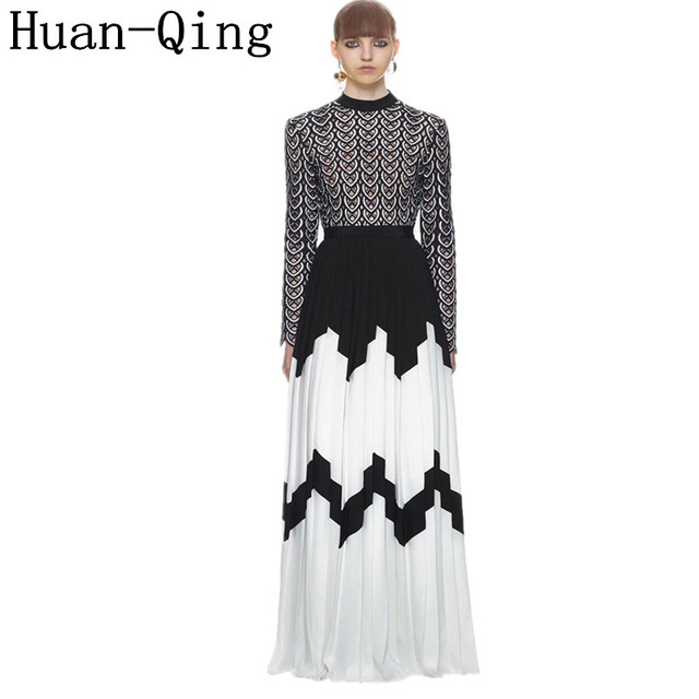 2bab6aadf42 Runway Women Self Portrait Lace Embroidery Chiffon Pleated Dress 2018  Autumn Sexy Hollow Out Long Sleeve Party Maxi Long Dresses