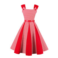 Sisjuly Women S Vintage Dresses Red Striped Vintage Dress Pin Up Belts Plus Size S 4XL
