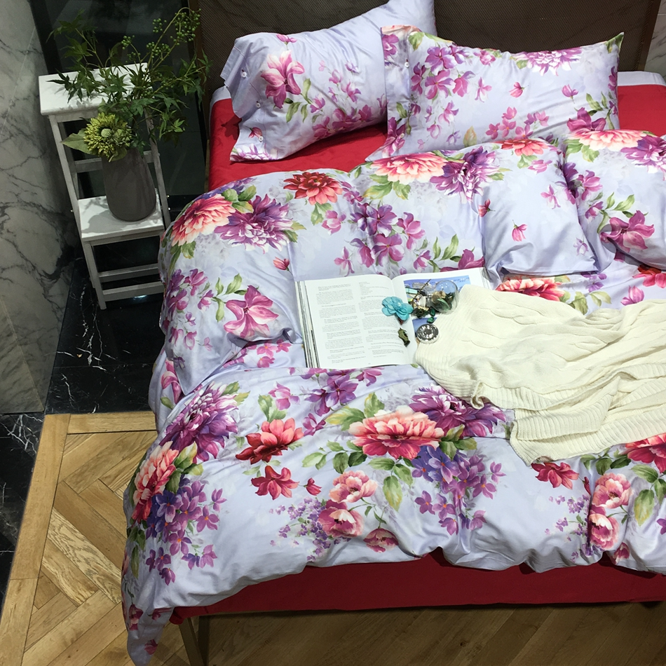 Floral cotton bed sheets - Floral Bedding Set Queen King Size 100 Soft 60s Egyptian Cotton Duvet Cover Set Flowers