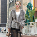 Women real mink fur jacket v-neck with belt whole mink fur coat short style lady spring autumn winter outerwear