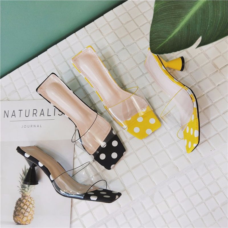 2018 Summer New Arrived Super Cool PVC Women Travel Slippers Sweet Polka Dot Comfort High Heel Lady Sandals Home Casual Slippers 2018 summer new arrived strap design wedges women sandals peep toe comfort mid heel sexy lady sandal fashion student casual shoe