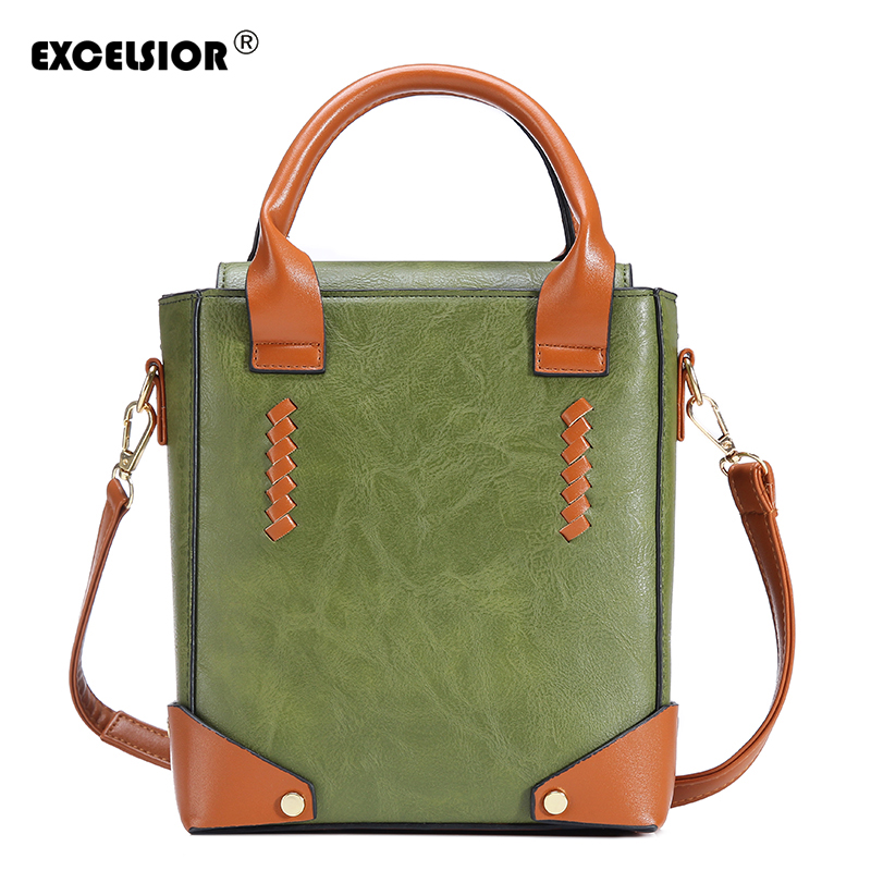 EXCELSIOR Famous Brand 2018  Women Bag PU Leather Top-Handle Bags Women's Vintage Messenger Bags Handbag Bolsa Feminina Bolsos famous brand women s pu leather shoulder bag women messenger bags handbag female casual soft tote bolsa feminina 1stl
