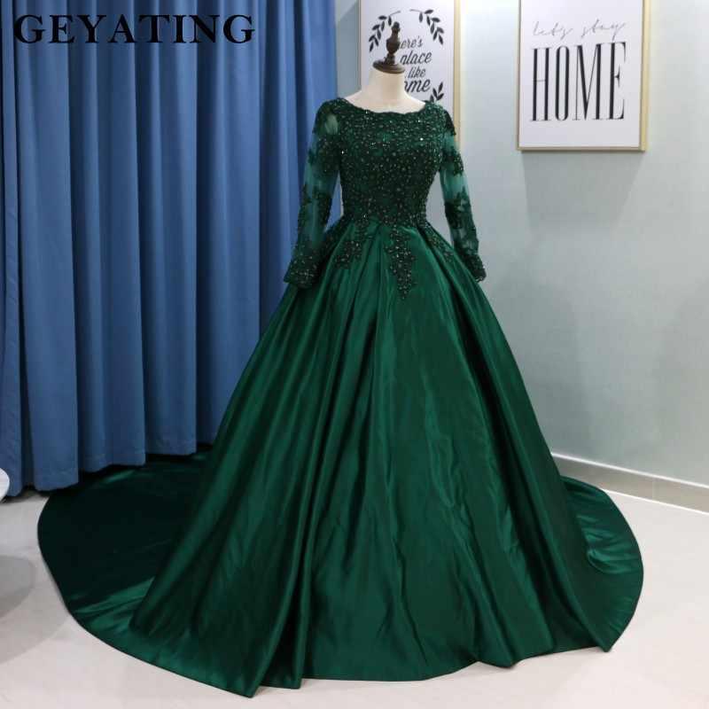 80ae03ff874f7 ... Emerald Green Lace Long Sleeves Muslim Wedding Dress 2019 Ball Gown  Princess Bride Dresses Islamic Satin ...