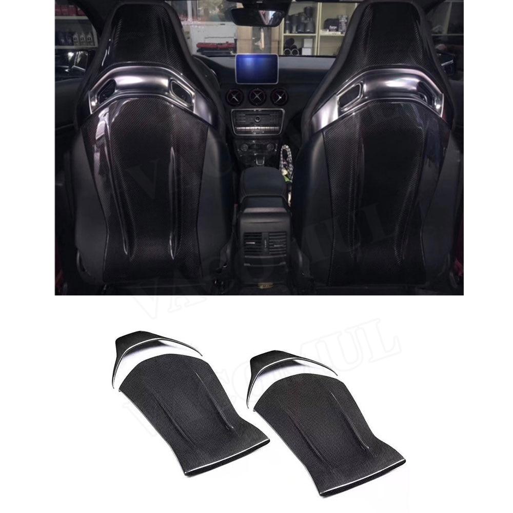 Carbon Fiber Seat Back Cover Trim Decoration Stickers For Mercedes Benz A45 CLA45 GLA45 C63 AMG C43 E63 2012-18 4PCs/Set