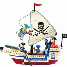Enlighten New 188pcs Intellectual Assembling Toys Pirate Ship Building Bricks Blocks Sets Figures Minifigure compatible legoe