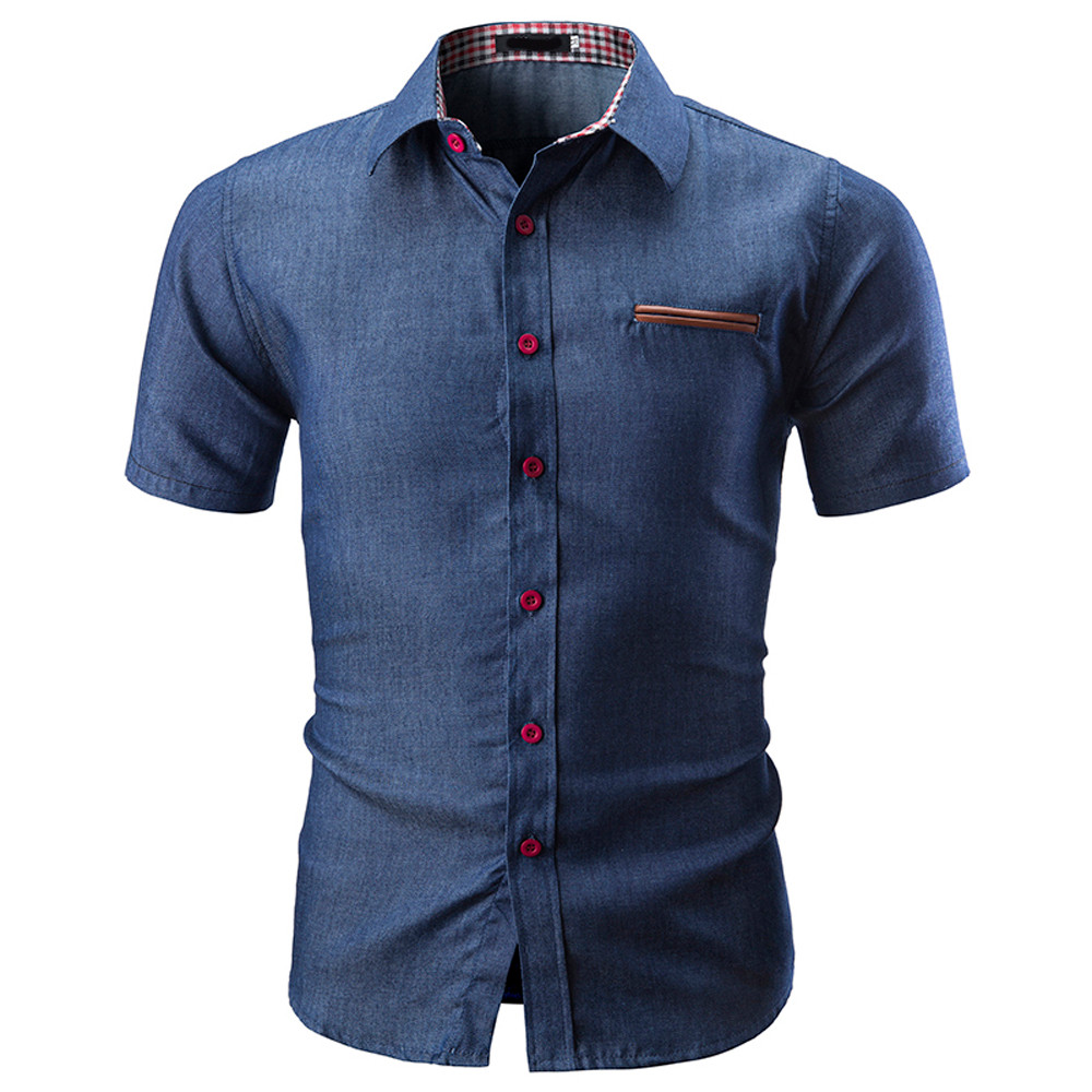 2018 Fashion Male Men Shirt Short Sleeves Tops Small Grid Solid