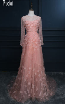 Real sample new arrival luxury beading flowers tulle long sleeves formal long evening dresses for wedding.jpg 350x350