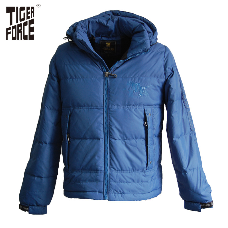 TIGER FORCE 2016 Fashion Boys Children Down Jacket White Duck Down Hooded Winter Down Coat European Size Free Shipping TD-76-1