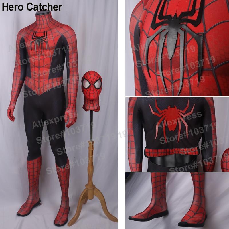 Héroe Catcher alta calidad hecho a medida nuevo disfraz de Raimi Spiderman con 3D Spider Spandex traje nuevo Comic Raimi Spiderman traje