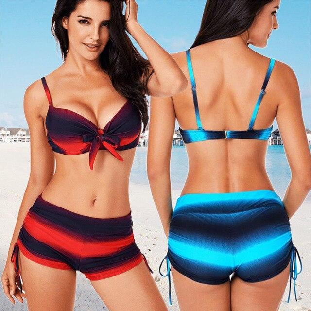 20acfd0f16fb7 2018 New Swimsuit Women Tankini Plus Size Swimwear Two Piece Swimsuit Push  Up Bikini Set 4xl