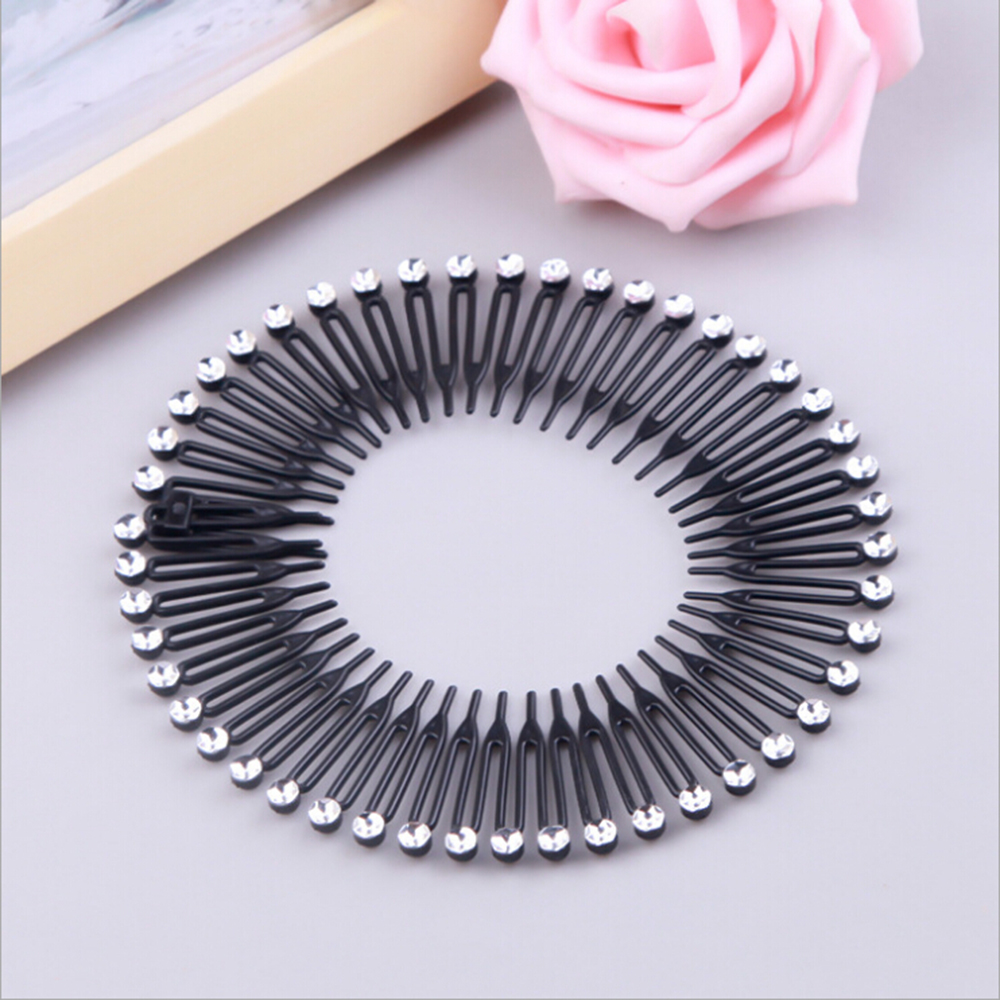 1PC Plastic Full Circle Stretch Diamond Flexible Comb Teeth Headband Hair Band Clip Face Wash Fixed Hair Accessories Beauty Tool