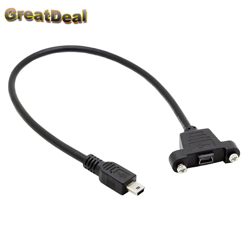 Mini USB Male to Female Extension Data Sync Power Charge Cable with Screws Lock Panel Mount 30cm HY1556 usb 2 0 to rs232 dongle with extension cable color assorted