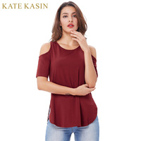 Kate Kasin Women Clothes Summer T Shirt 2017 New Fashion Off Shoulder Hollow Out Short Sleeve