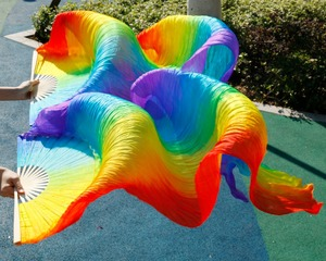 Image 5 - Hits 2018 High selling handmade women Quality Silk Belly Dance Fan Dance 100% Real Silk Veils 1 Pair Rainbow Colors (2pcs)