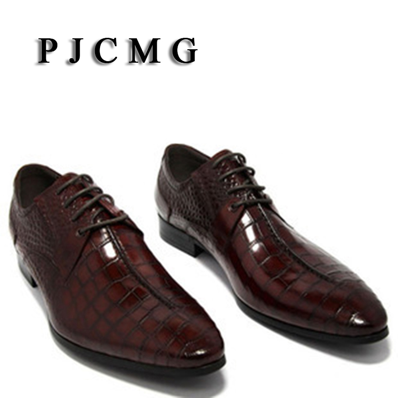 PJCMG oxford shoes Wine Red/ black Lace-Up mens business dress shoes genuine leather pointed toe mens wedding shoes pjcmg new black red mens oxfords crocodile pattern lace up pointed toe genuine leather business formal men wedding office shoes